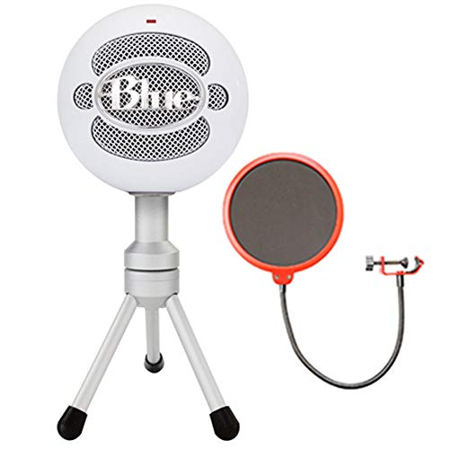 Blue Microphones Snowball iCE Versatile USB Microphone - White (Snowball iCE) with Universal Pop Filter Microphone Wind Screen with Mic Stand Clip