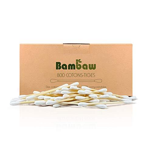 Coton-tige en bambou | Coton-tige bio | Coton-tige en bois | Emballage écologique | Recyclable et biodégradable | 800 unités| Bambaw