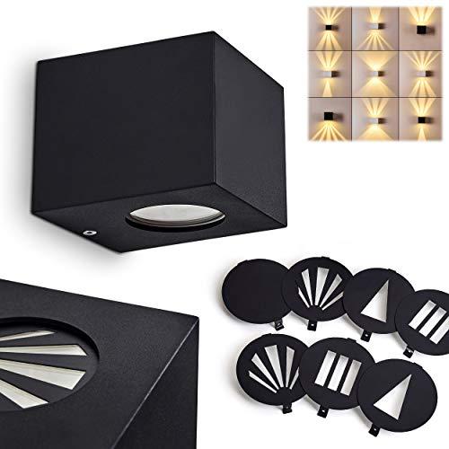 LED Außenwandleuchte Jonava, Up & Down Wandlampe aus Kunststoff in schwarz, 2-flammige Außenleuchte mit Lichteffekt wählbar aus 4 Mustern, 2 x LED 2 Watt, 3000 Kelvin, 400 Lumen