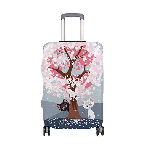 Copertura per valigia con motivo a fiori di ciliegio e gatto, super leggera, adatta per bagagli da 18 a 32 pollici