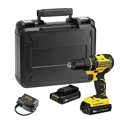 Stanley Fatmax FMC608C2K-Qw 18 V Lithium-Ion Cordless Screwdriver Drill - Fast Charger - Two Mechanical Speeds - Fast Screwing - Compact and Lightweight - LED Beam - 2 Batteries Included