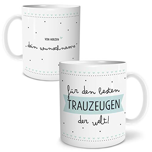 Bester Trauzeuge Große Kaffee-Tasse mit Spruch im Geschenkkarton Personalisiert mit Namen Geschenke Geschenkideen für Trauzeuge zur Hochzeit