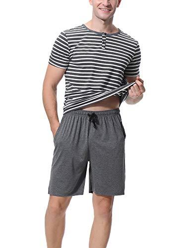 Aibrou Herren Winter Pyjama Set, Warm Kurzarm Zweiteiliger Schlafanzug Rundhals Grau M