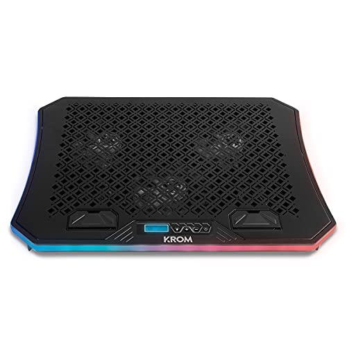 KROM KOOLER NXKROMKOOLER - Base di raffreddamento per PC portatili fino a 19 , 6 ventole, RGB, supporto per smartphone, display LCD e HUB USB, colore: Nero