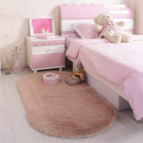 LHQ-HQ Area Rugs - Alfombra de felpa de color liso, estilo nórdico, ovalada, color blanco, para sala de estar, mesa de café, dormitorio, cama frontal, 120 x 200 cm, color camello