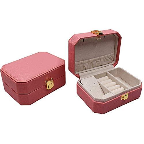 ZXy Caja de Almacenamiento de joyería de Moda Caja de joyería de Cuero de una Capa Collar Almacenamiento de Anillo Caja de Almacenamiento de joyería con Espejo Portátil