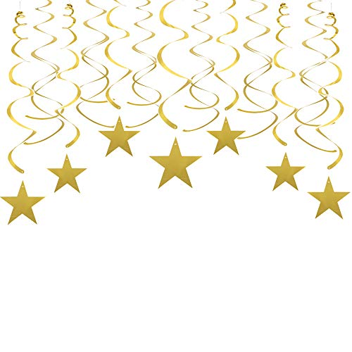 Gold Twinkle Stars Swirls Decorations Shiny Metallic Hanging Decorations Foil Stars Garland Wedding Favors Birthday Baby Shower Party Decorations, 30 pcs