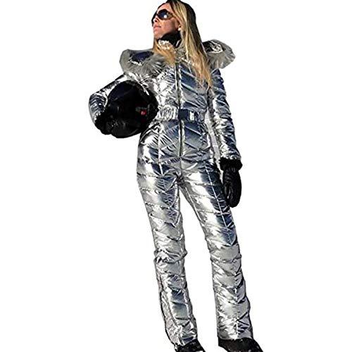 Bueuwe Women's Winter Onesies Ski-Overall, Skijacke Und Hosen Für Mädchen, Sports Schneeanzug Pelzkragen Mantel Jumpsuit Mit Hoodies,Silber,M
