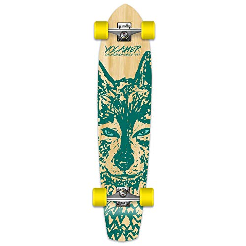 Yocaher Spirit Wolf Longboard Complete Skateboard Cruiser - Available in All Shapes (SlimKick)