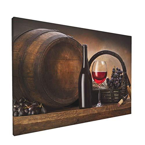 Cuadro sobre lienzo para pared, botella, barril, uvas, vino, arte decorativo moderno sin marco para decoración del hogar, 30X45 CM