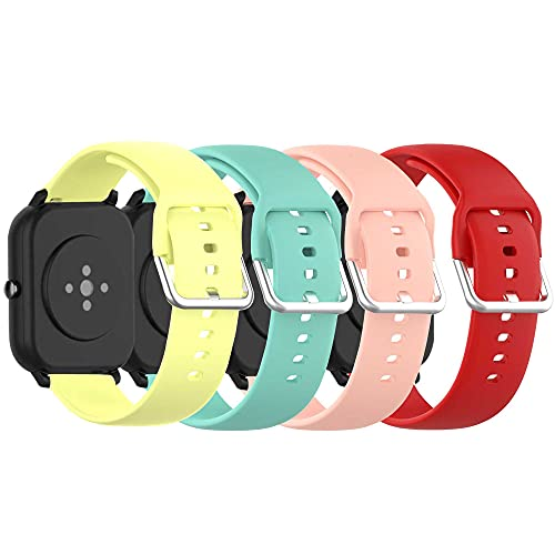 Soft Silicone Replacement Watch Bands Compatible with Letsfit ID205L,ID205G,ID205S/Fitpolo ID205L/HAFURY ID205L/Blackview SW01 SW02 Smart Watch Replacement Band for Veryfitpro ID205L,ID205S,SW020,SW021,SW025,SW023(4Pack)