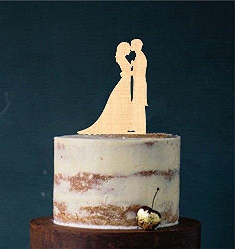 edelstahlheini.de Cake Topper, Tortenstecker, Tortenfigur Acryl, Tortenständer Etagere Hochzeit Hochzeitstorte (Holz)