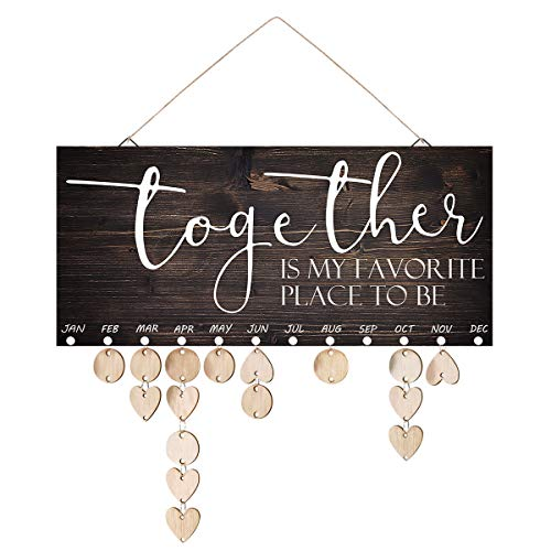 ElekFX Mom Birthday Gifts Wooden Family Birthday Reminder Calendar Board Birthday/Important Dates Tracker Home Decorative Plaque Wall Hanging(Together L)