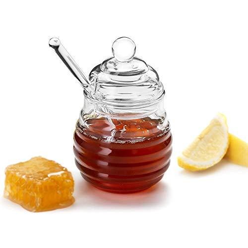 2 Stks Honing Potje met Dipper en Deksel Glas - Hittebestendige 10 Oz Bijenkorf Honing Pot voor Winkel Honing en Siroop Grote Bijendecor