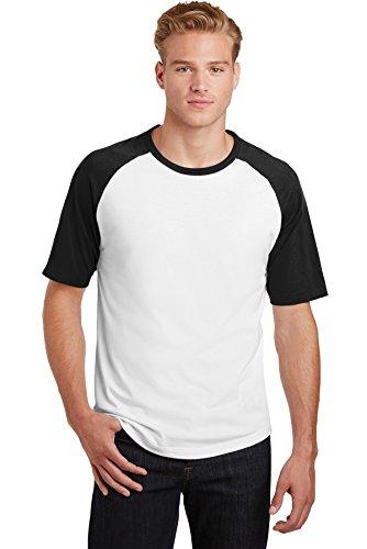 Sport-Tek® Short Sleeve Colorblock Raglan Jersey. T201 White/Black 2XL