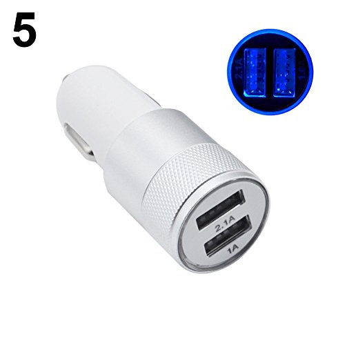 Autolader Autolader LED 5V 2.1A Dual USB Fast Car Charger Adapter voor iPhone Samsung Galaxy Tablet Dual USB Poorten, Duurzaam, Lichtgewicht, LED Licht - Zilver ZILVER