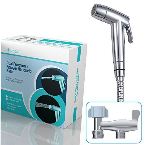 Hibbent Dual Function 2 Sprayer(Stream/Jet) Hand Held Bidet Toilet Sprayer Cloth Diaper Sprayer Kit - Personal Hygiene Cleaning with No Leaking Toilet Attachment - Chrome