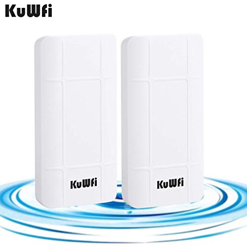 KuWFi Wireless Outdoor Access Point, 2-Pack 300Mbps Outdoor PoE CPE Wireless Bridge Kit, Indoor & Outdoor Point to Point Wireless Bridge Client Bridge CPE