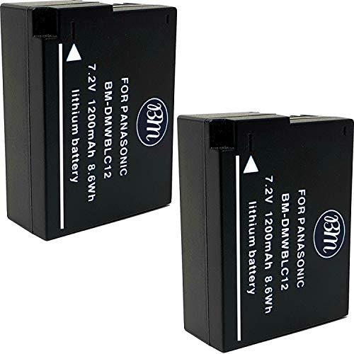BM Premium 2 Pack of High Capacity DMW-BLC12 Batteries for Panasonic Lumix DC-FZ1000 II DC-G95 DMC-G85 DMC-GH2 DMC-G5 DMC-G6K DMC-G7 DMC-GX8 DMC-FZ200 DMC-FZ300 DMC-FZ1000 DMC-FZ2500 Cameras