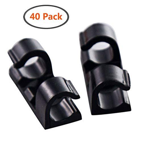 Kabelschellen aus Kunststoff, mit selbstklebender Rückseite, verstellbar, 40Stück schwarz