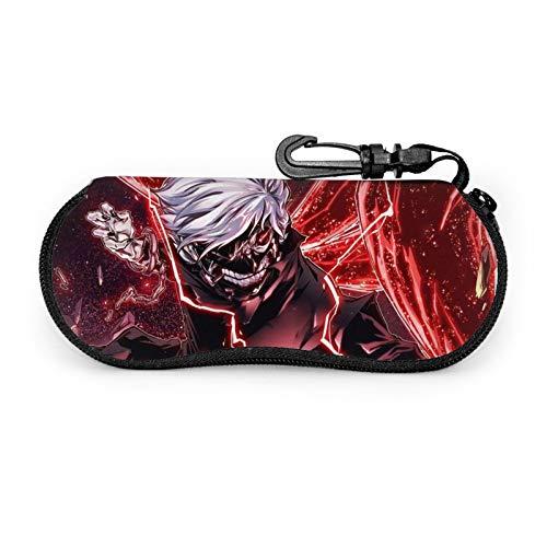 Tokyo Ghoul - Funda protectora para gafas de viaje portátil con cremallera de neopreno suave para gafas con cremallera y gancho para cinturón antirrobo