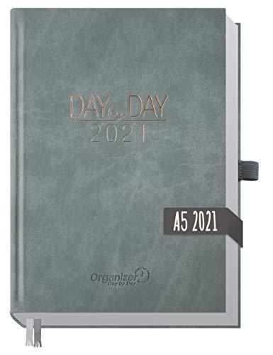 Chäff Organizer Day by Day 2021 A5 [Grau] 1 Tag pro Seite | Hardcover Kalender 2021, Tagesplaner, Terminkalender, Terminplaner, Tageskalender | nachhaltig & klimaneutral