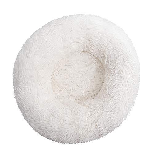 WHEEJE Perro Redondo Kennel Perro Cama Cojín Cojinete Lavable Cálido Largo Peluche Productos Mascotas Puppy Soft Durmiente Invierno Cama Mascota Suave (Color : White, Size : XL 100cm)