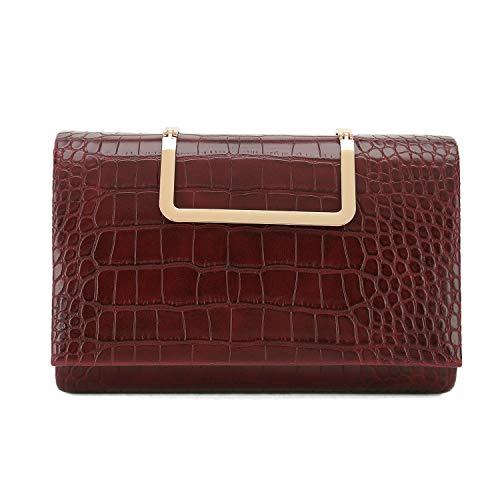Charming Tailor Small Crocodile Print Clutch Bag PU Alligator Handbag Women's Clutch Purse (Burgundy)
