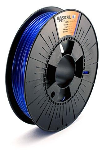 Basicfil PET 2.85mm, 500 gr filamento per stampante 3D, Blu trasparente