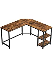 VASAGLE Bureau, L-vormige computertafel, hoekbureau met 2 planken