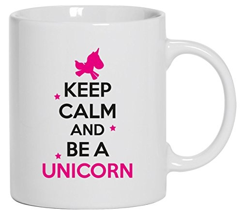 Keep Calm And Be A Unicorn, Einhorn Kaffee Becher mit Motiv bedruckte Tasse Mug Kaffeebecher, Größe: onesize,Weiß