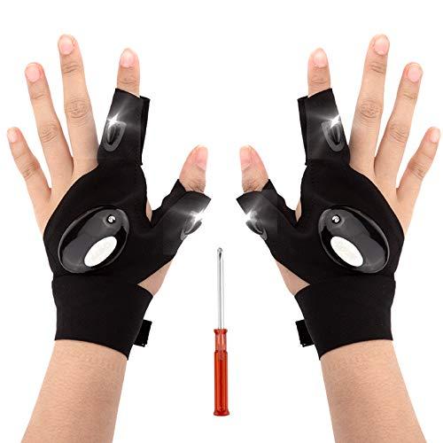 LUTER 1 Paar LED Taschenlampen Handschuhe Angel Handschuhe und Schraubendreher Gadget Tool zur Reparatur von Arbeiten im Dunkeln, für Camping Wanderungen im Freien