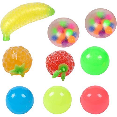 lilico 9PCS Stress Balls Toys, Fruit Exprimiendo Sticky Target Anti Stress Reliever Balls, Globbles Sticky Balls Que se atasca en el Techo, Juguete de descompresión para niños y Adultos