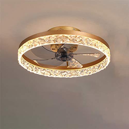 FLYFO Deckenventilator Mit Beleuchtung, Fernbedienung Dimmbar, Dimmbarer Windgeschwindigkeit, 30W LED Deckenleuchte, Leise Ventilator Kronleuchter Für Wohnzimmer Schlafzimmer Büro,Gold