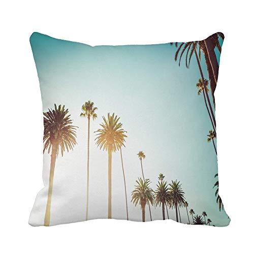 N\A Throw Pillow Cover Rodeo Drive en Beverly Hills Palmeras Que bordean Hollywood Funda de Almohada Funda de Almohada Cuadrada Decorativa para el hogar Funda de cojín
