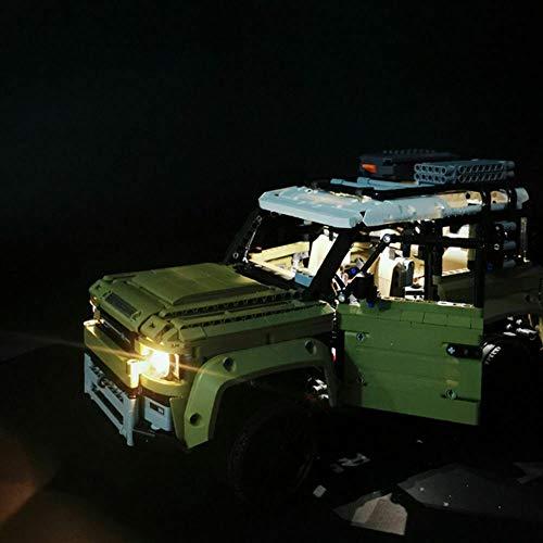 Juego de luces de bloque de construcción de lujo, con control remoto LED, para Lego Land Rover Defender 42110 Off-Road Car