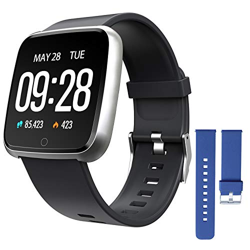 ZKCREATION Smartwatch, Reloj Inteligente Pulsera Actividad con Pulsómetro Podómetro Calorias Monitoreo del sueño Impermeable Reloj Inteligente Mujer Hombre Compatible con Android iOS