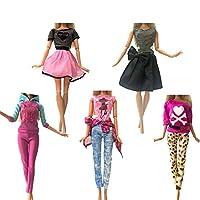 人形用ドレス 人形ファッション服デイリー人形アクセサリーのためのカジュアルドレスシャツスカートドールハウス服を着ます YXJJP (Color : 5 Pcs L, Size : フリー)