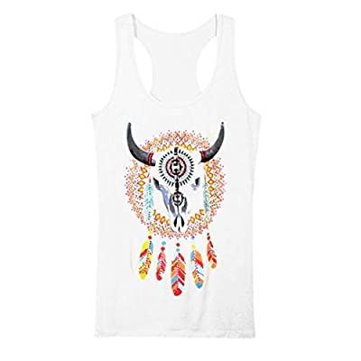 DONTAL Summer Women Tops Cowgirl Feathers Rhinestones Tank Top Shirt Western Crop Top White