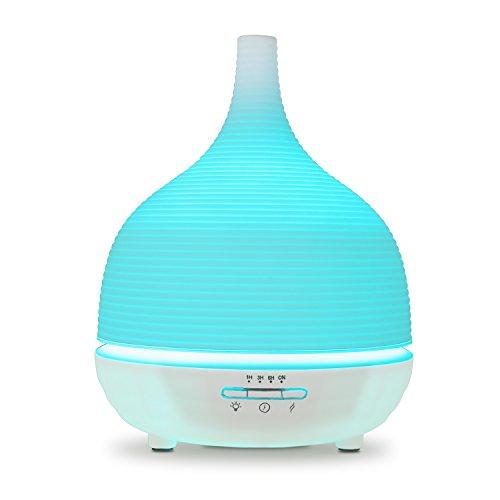 Aiho Humidificador 500ml Ultrasónico Difusor de Aceites Esenciales Aromaterapia 7-Color LED 4 Ajustes de Tiempo Para Yoga Spa Hogar Oficina Dormitorio Baño