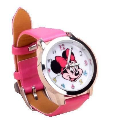 Reloj de pulsera para niñas con diseño de Minnie Mouse, color rosa oscuro, correa de piel analógica, color rosa
