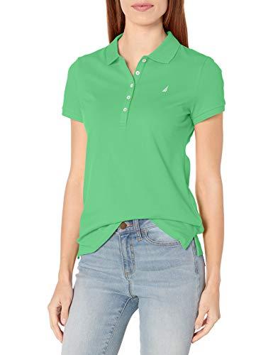 Nautica Women's 5-Button Short Sleeve Breathable 100% Cotton Polo Shirt, Leaf Green, Medium