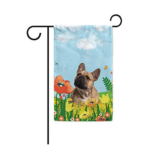 BAGEYOU Hello Spring Floral with My Love Dog French Bulldog Garden Flag Summer Flower Home Decor Yard Banner for Outside 12.5 x 18 Inch Printed Double Sided