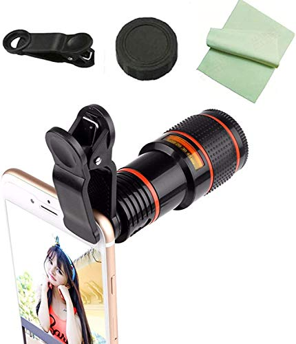 Pocket Zoom Hd Pixel Pro Pack, Cell Phone Camera Lens Kit, Clip-On Telephoto Telescope Camera Mobile Phone Zoom Lens for Iphone, Samsung, Android (12X Zoom)