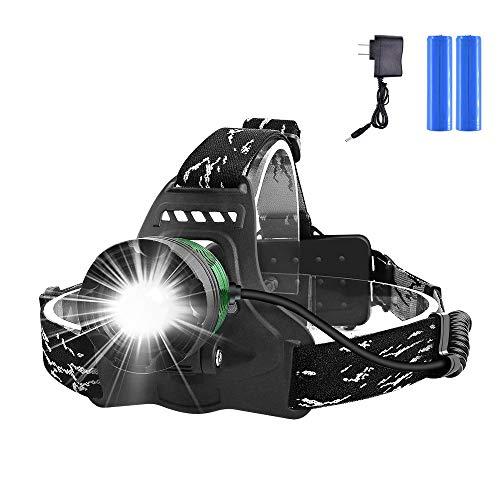 LAMA LED Stirnlampe, wasserdicht Kopflampe Zoom 1000 Lumen Ultrahohe Helligkeit mit USB 2 wiederaufladbaren Batterien Scheinwerfer mit 3 Modi für Nacht Angeln Laufen Jagd Lesen Camping Wandern