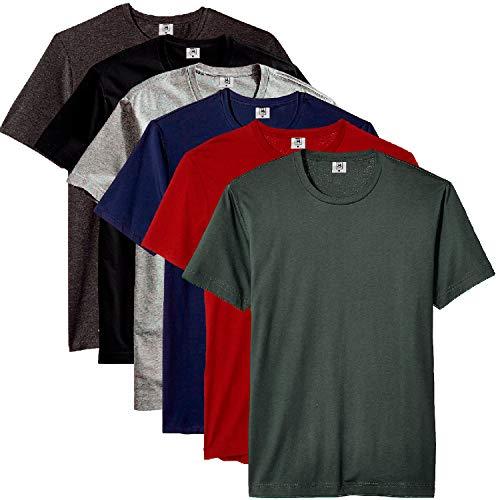 Kit com 6 Camisetas Masculina Básica Algodão Part.B Premium (Azul, Verde, Cinza, Vinho, Preto e Chumbo, G)