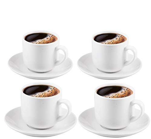 Espresso Cups with Saucers by Bruntmor - 4 ounce - Elegant White Ceramic, For Latte, Coffee, Mocha and Tea, Stackable Set of 4