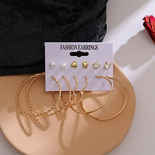 FEARRIN Conjunto de Pendientes para Mujer Conjunto de Pendientes Pendientes de Perlas de Cristal para Mujer Pendientes de aro Grandes Bohemios Joyas de Fiesta Brincos geométricas LNI0907-5
