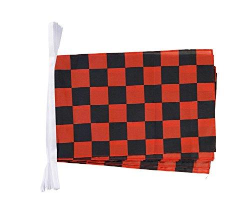 Digni Grande Guirlande 12 Drapeaux Damier Rouge-Noir - 30 x 45 cm / 8,9 m Sticker Gratuit