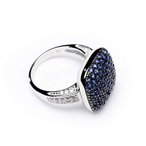 Love your diamonds Mujer Circonita espacios de plata Anillo - azul oscuro, talla 55